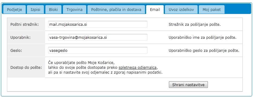 Email nastavitve