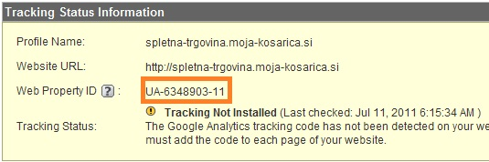 Google Analytics Gumb